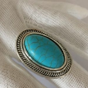 Antique Silver Plated Turquoise Carved Ring